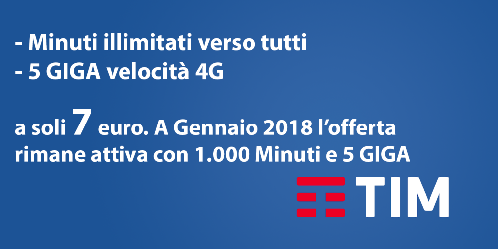 TIM PLANET GO: Illimitato + 5 GIGA – 7 euro per sempre!