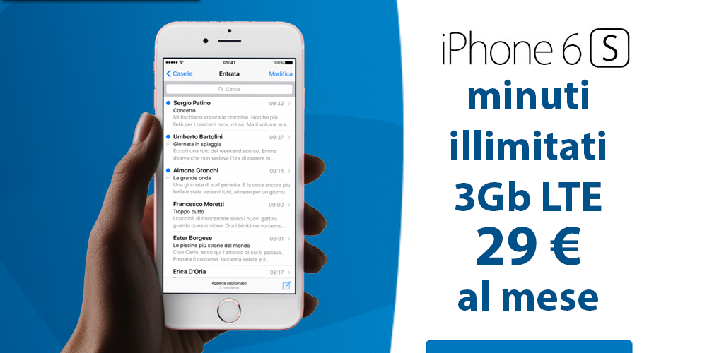 iPhone 6S 16GB+ Minuti illimitati + 3Gb a 29 euro al mese